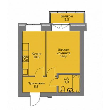 Вариант №4399, 1-комнатная квартира в жилом комплексе Ключевой