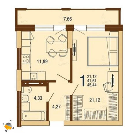 Вариант №1820, 1-комнатная квартира в жилом комплексе На Доватора