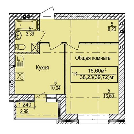 Вариант №6155, 1-комнатная квартира в жилом комплексе