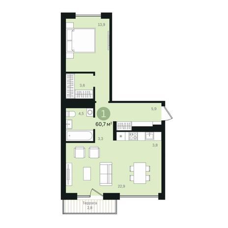 Вариант №6349, 2-комнатная квартира в жилом комплексе