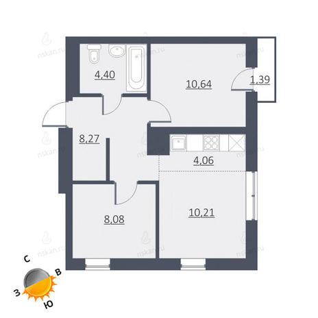 Вариант №1655, 2-комнатная квартира в жилом комплексе Дунаевский