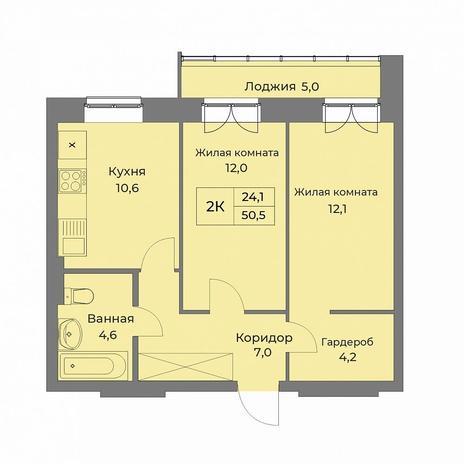 Вариант №5277, 2-комнатная квартира в жилом комплексе