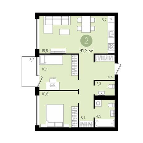 Вариант №3476, 3-комнатная квартира в жилом комплексе На Декабристов