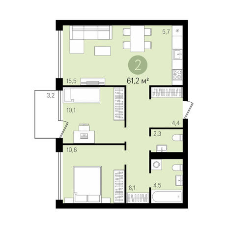 Вариант №3476, 3-комнатная квартира в жилом комплексе
