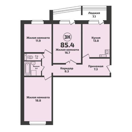Вариант №5717, 3-комнатная квартира в жилом комплексе