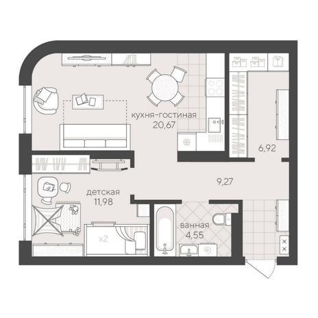 Вариант №6203, 2-комнатная квартира в жилом комплексе