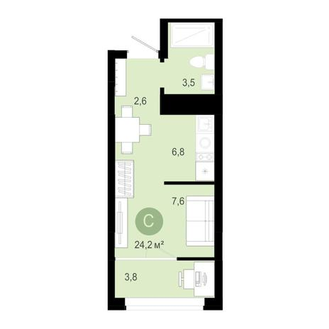 Вариант №4588, 1-комнатная квартира в жилом комплексе
