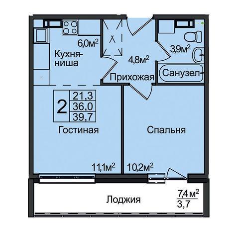 Вариант №3099, 2-комнатная квартира в жилом комплексе