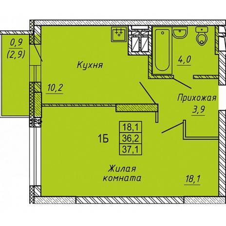 Вариант №5656, 1-комнатная квартира в жилом комплексе