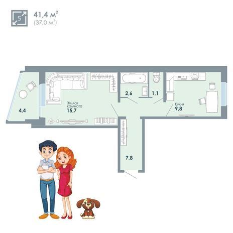 Вариант №5133, 1-комнатная квартира в жилом комплексе