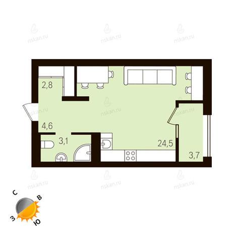 Вариант №1126, 1-комнатная квартира в жилом комплексе