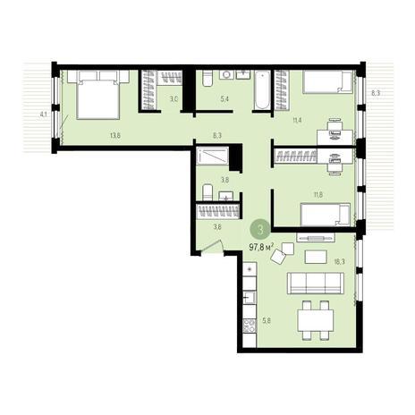 Вариант №5004, 4-комнатная квартира в жилом комплексе Пшеница