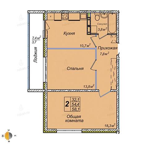 Вариант №2396, 2-комнатная квартира в жилом комплексе