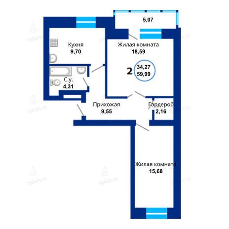 Вариант №1663, 2-комнатная квартира в жилом комплексе