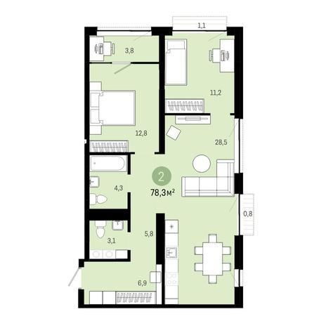 Вариант №6400, 3-комнатная квартира в жилом комплексе