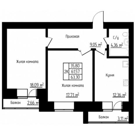 Вариант №4525, 2-комнатная квартира в жилом комплексе