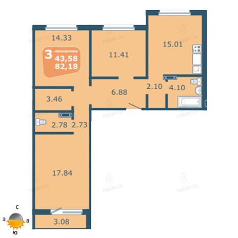 Вариант №1808, 4-комнатная квартира в жилом комплексе На Фадеева