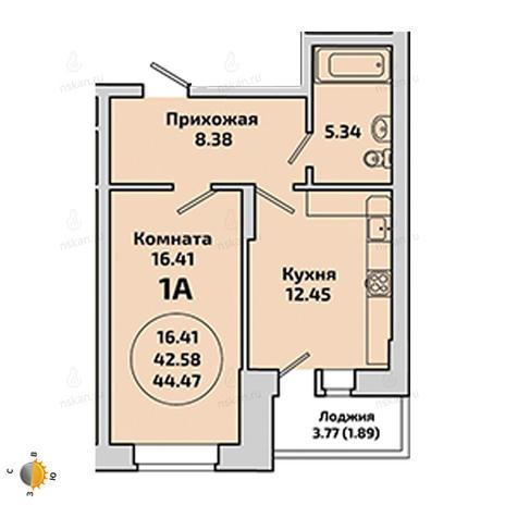 Вариант №1962, 1-комнатная квартира в жилом комплексе