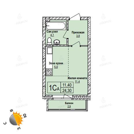 Вариант №1094, 1-комнатная квартира в жилом комплексе