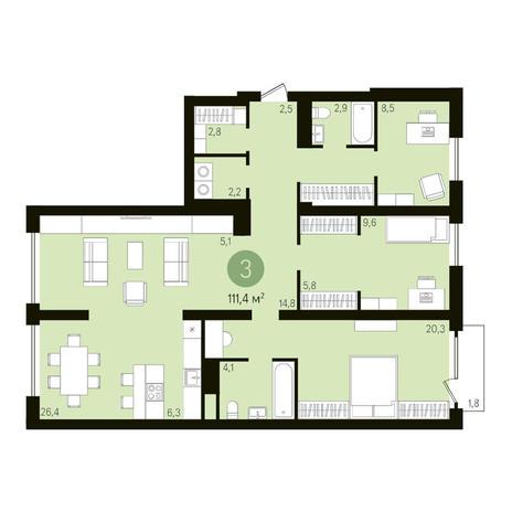 Вариант №3611, 4-комнатная квартира в жилом комплексе