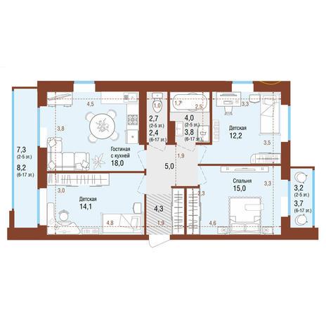 Вариант №4211, 4-комнатная квартира в жилом комплексе Облака
