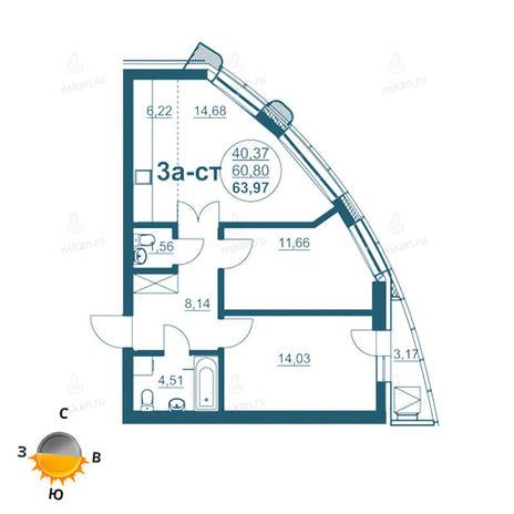 Вариант №964, 3-комнатная квартира в жилом комплексе Флотилия