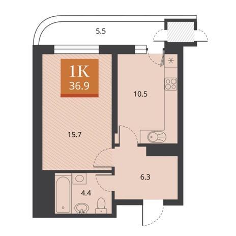 Вариант №5672, 1-комнатная квартира в жилом комплексе