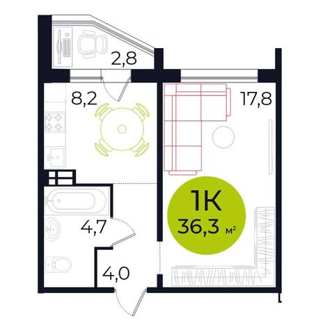 Вариант №5488, 1-комнатная квартира в жилом комплексе
