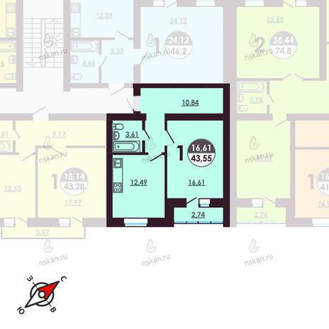 Вариант №410, 1-комнатная квартира в жилом комплексе Ключевой