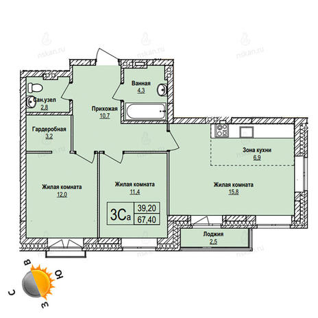 Вариант №1107, 3-комнатная квартира в жилом комплексе
