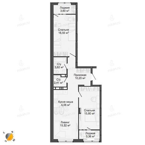 Вариант №2137, 3-комнатная квартира в жилом комплексе