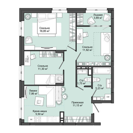 Вариант №3054, 3-комнатная квартира в жилом комплексе