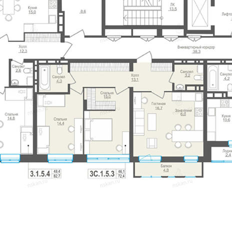 Вариант №857, 3-комнатная квартира в жилом комплексе Пифагор