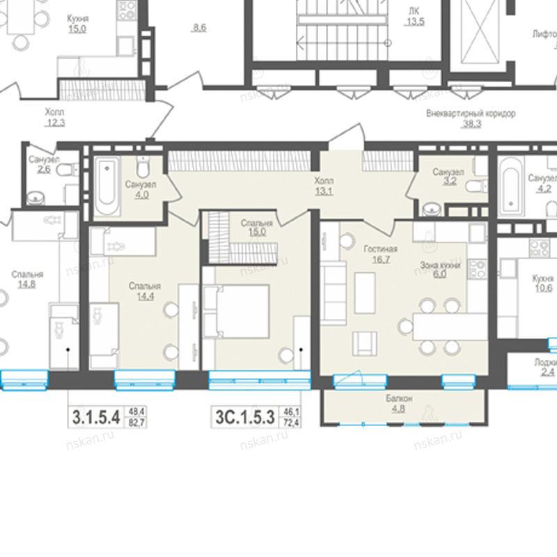 Планировка 3-комн. студия площадью 72.4 м<sup>2</sup> в ЖК Пифагор