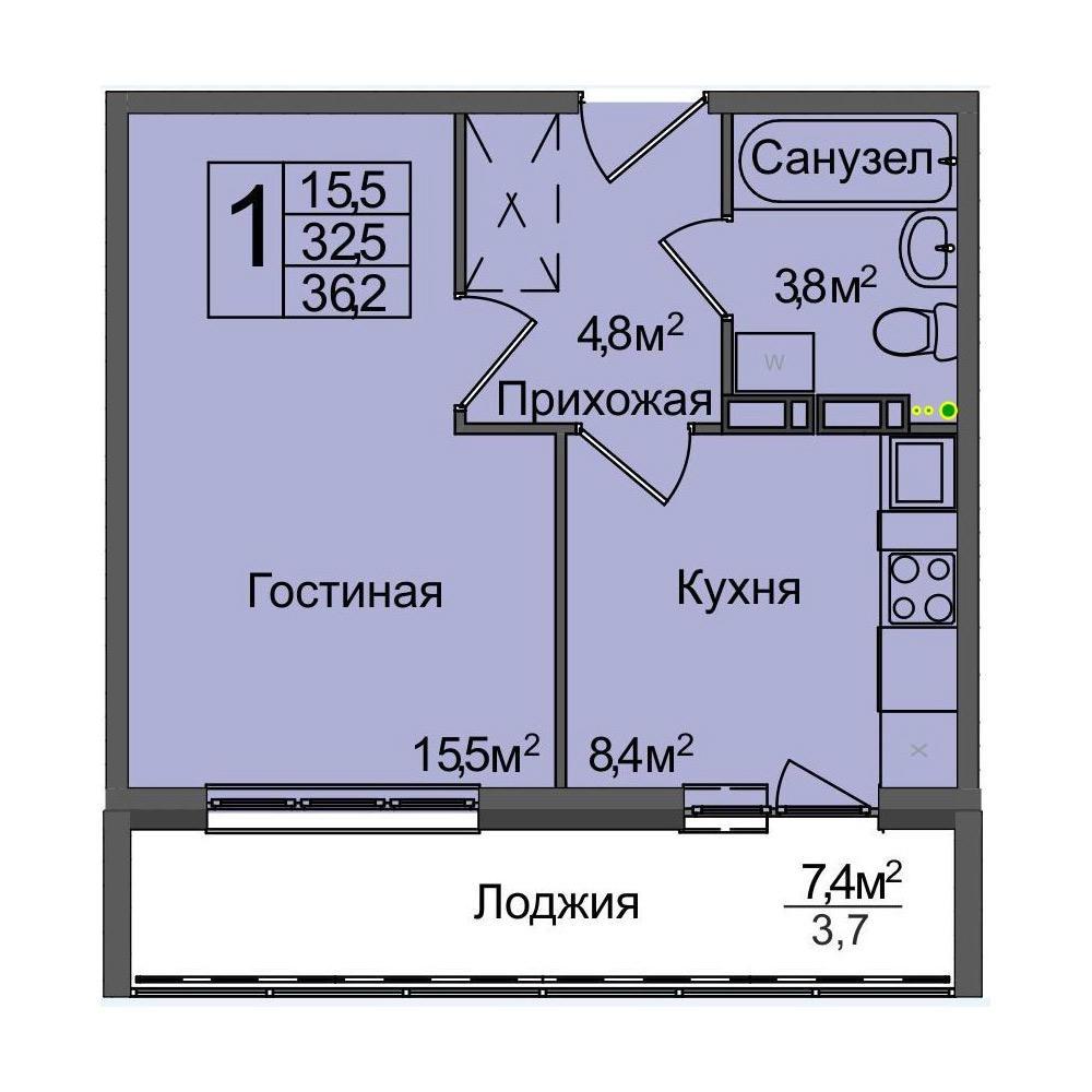 Планировка 1-комнатная площадью 36.2 м<sup>2</sup> в ЖК Венеция