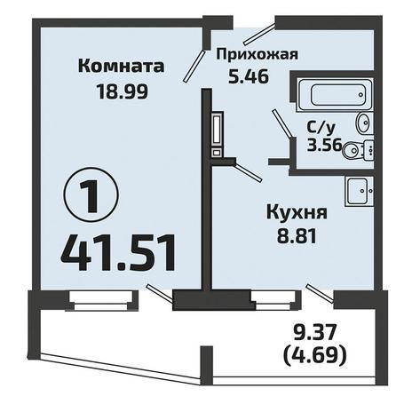 Вариант №3381, 1-комнатная квартира в жилом комплексе