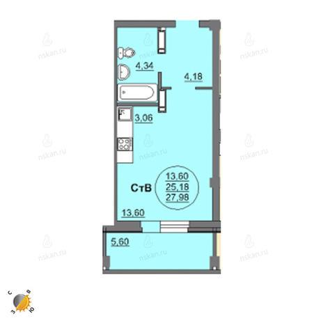 Вариант №2455, 1-комнатная квартира в жилом комплексе
