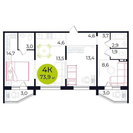 Вариант №5481, 4-комнатная квартира в жилом комплексе