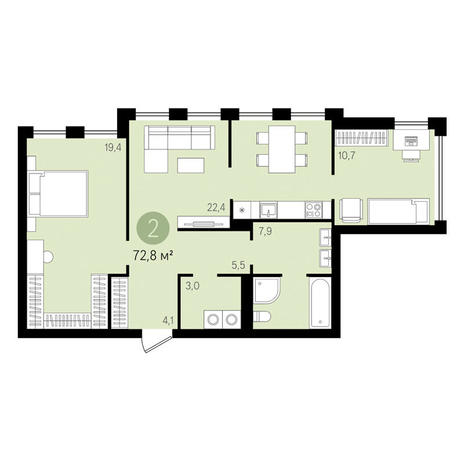 Вариант №3487, 2-комнатная квартира в жилом комплексе