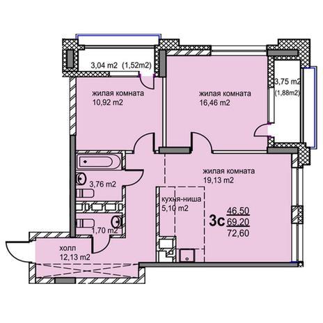 Вариант №5768, 3-комнатная квартира в жилом комплексе