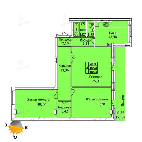 Вариант №721, 3-комнатная квартира в жилом комплексе Тихвинский квартал