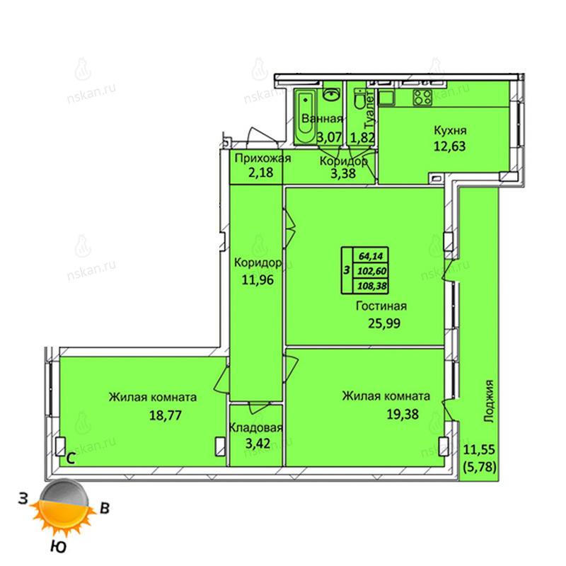 Планировка 3-комнатная площадью 108.38 м<sup>2</sup> в ЖК Тихвинский квартал