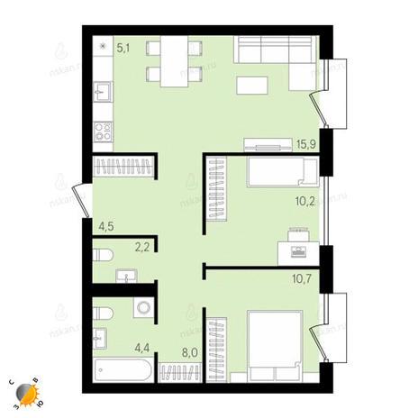 Вариант №2153, 3-комнатная квартира в жилом комплексе