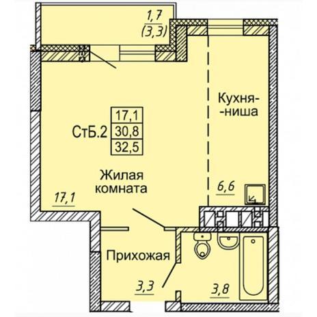Вариант №4970, 1-комнатная квартира в жилом комплексе