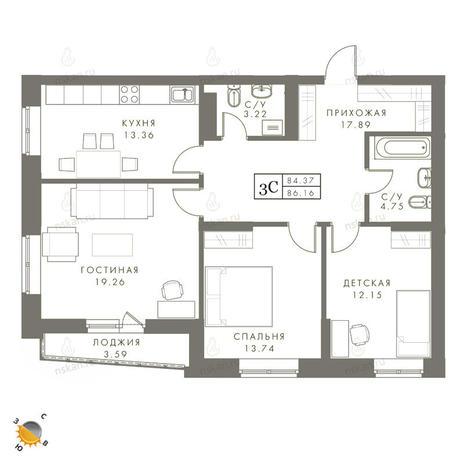 Вариант №2449, 3-комнатная квартира в жилом комплексе