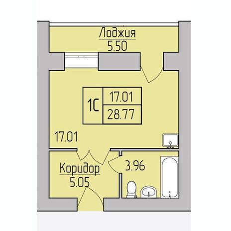 Вариант №3855, 1-комнатная квартира в жилом комплексе