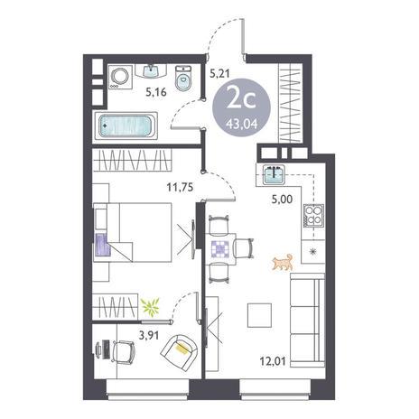 Вариант №3366, 2-комнатная квартира в жилом комплексе