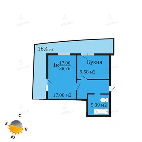 Вариант №1065, 1-комнатная квартира в жилом комплексе Грани