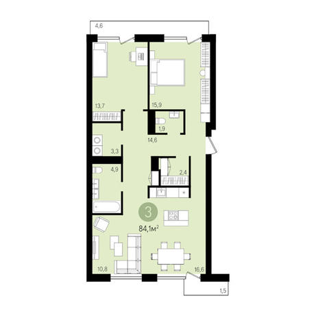 Вариант №3305, 3-комнатная квартира в жилом комплексе Европейский Берег