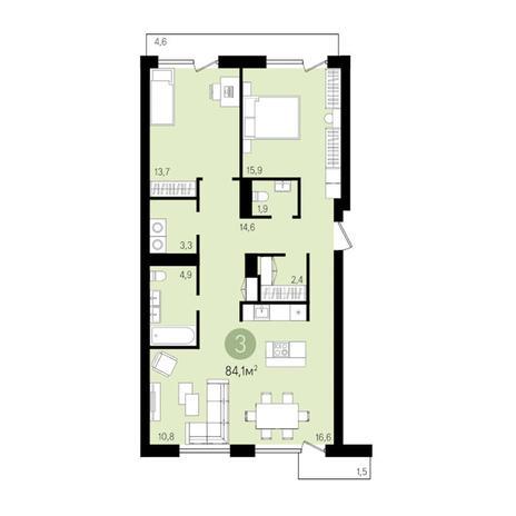 Вариант №3305, 3-комнатная квартира в жилом комплексе